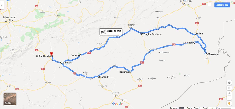 Trasa na Google Maps przez Południowe Maroko