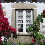 Urocze okno tonące w kwiatach Minho Portugalia