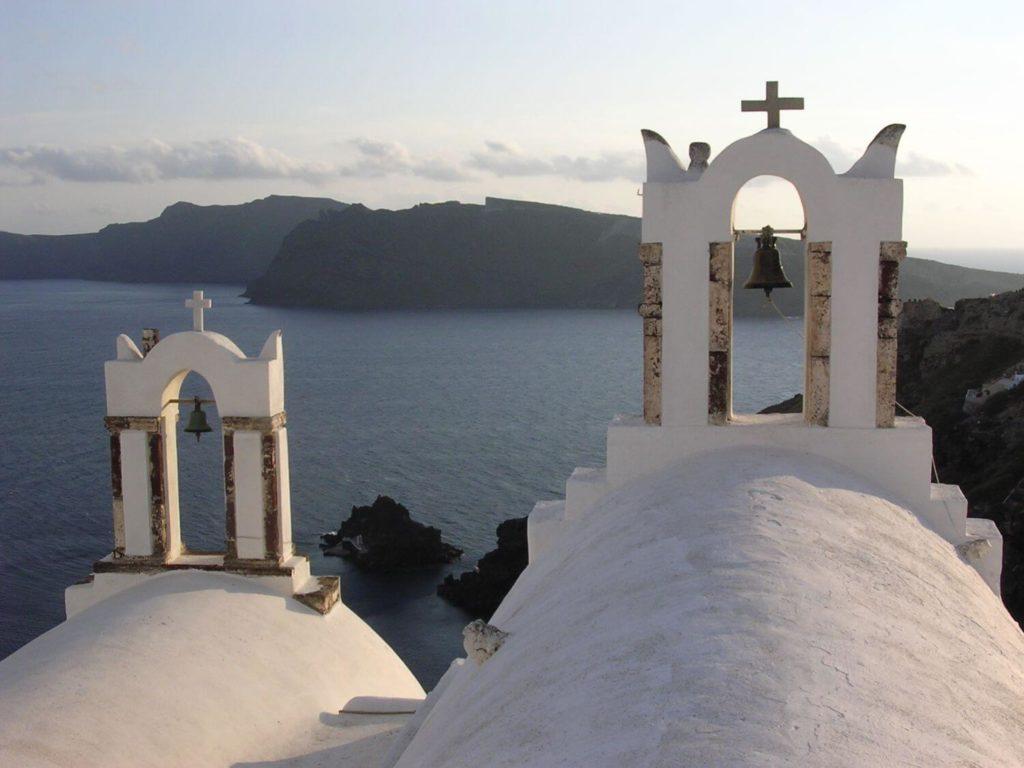 Oia na zachodzie Santorini, Cyklady